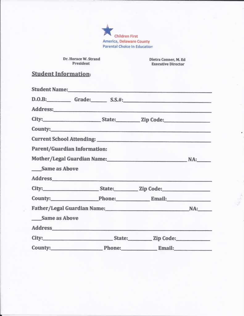 Scholarship Application Pg 1of 3