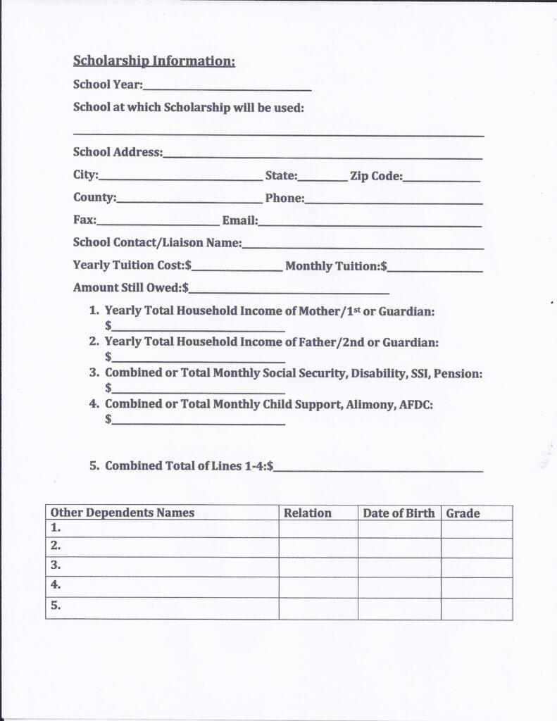 Scholarship Application Pg 2 of 3