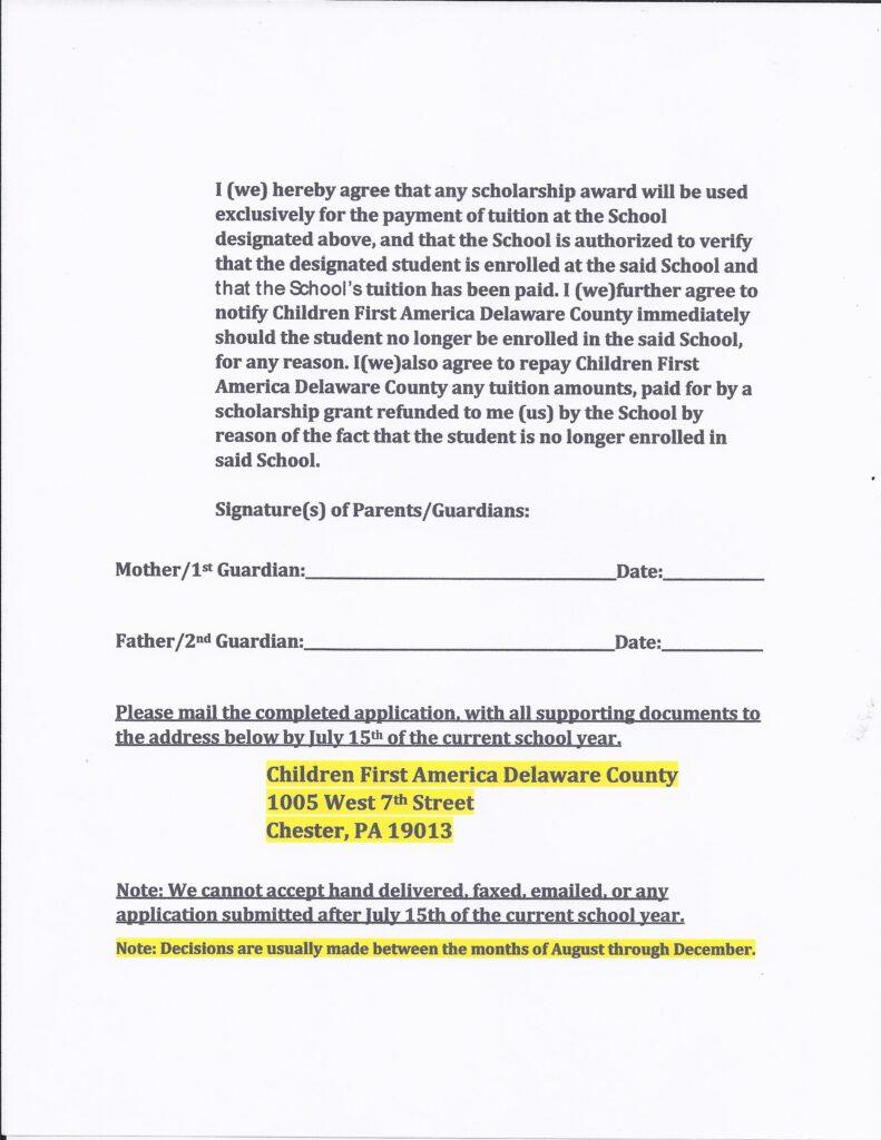 Scholarship Application Pg 3 of 3